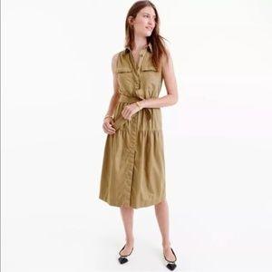 J. Crew Tiered Fatigue Sleeveless Shirt Dress